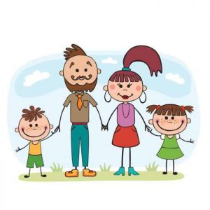 Vector illustration, cartoon, family, mom and dad, children, hol